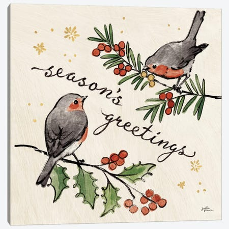Christmas Lovebirds III Canvas Print #JAP95} by Janelle Penner Canvas Art Print