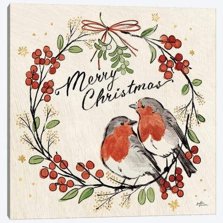 Christmas Lovebirds V Canvas Print #JAP98} by Janelle Penner Canvas Wall Art