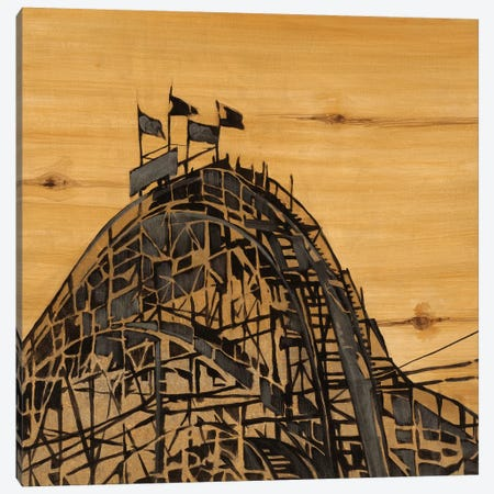 Vintage Roller Coaster Canvas Print #JAR254} by Liz Jardine Canvas Art Print