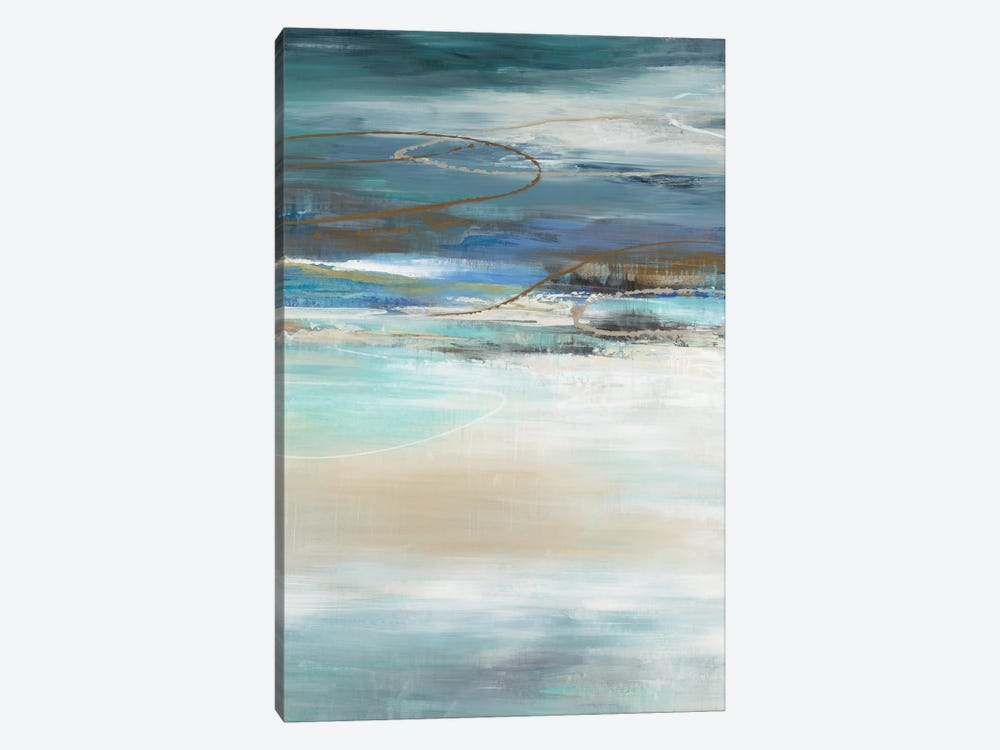Geo Cache In Aqua Tones by Liz Jardine 1-piece Canvas Artwork