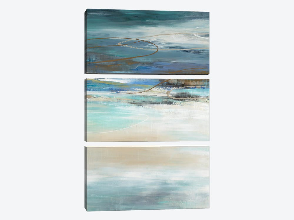 Geo Cache In Aqua Tones by Liz Jardine 3-piece Canvas Art