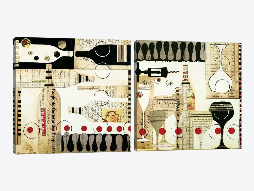 Deco Vino Diptych by Liz Jardine 2-piece Canvas Art