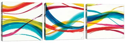 Neon Currents Triptych Canvas Art Print