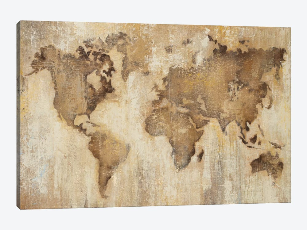 Map Of The World by Liz Jardine 1-piece Canvas Art