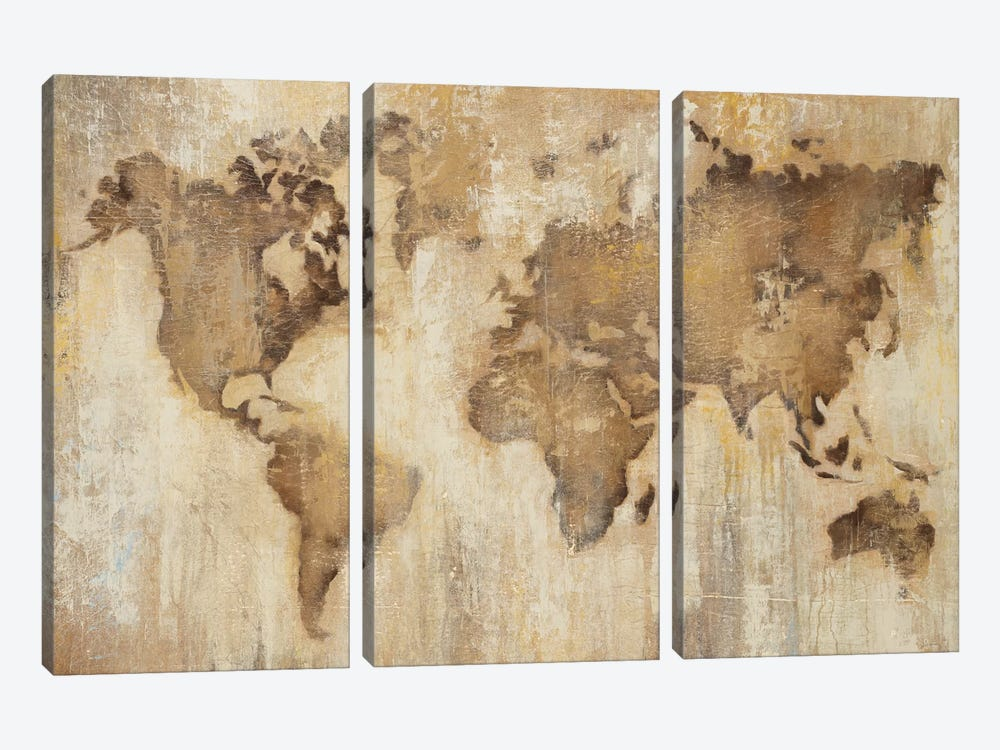 Map Of The World by Liz Jardine 3-piece Canvas Wall Art