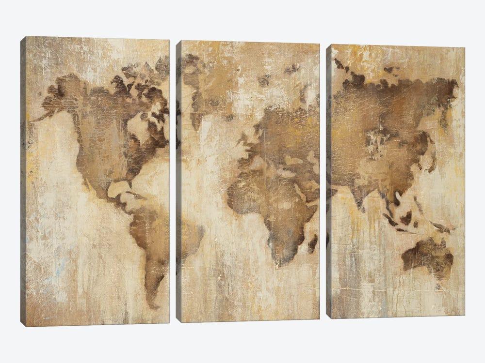 Map Of The World by Liz Jardine 3-piece Canvas Wall Art