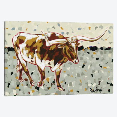 Longhorn Steer 3-Piece Canvas #JAU11} by Jodi Augustine Canvas Art Print