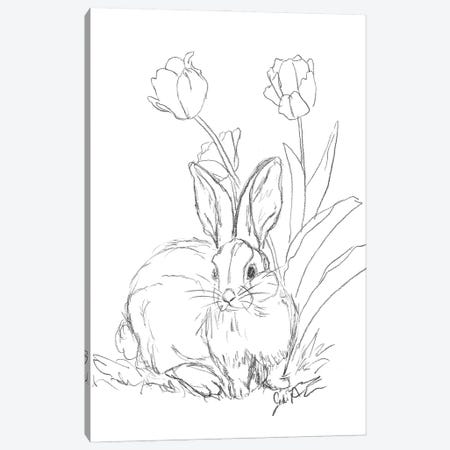 Bunny Sketch Tulip Canvas Print #JAU24} by Jodi Augustine Canvas Art Print