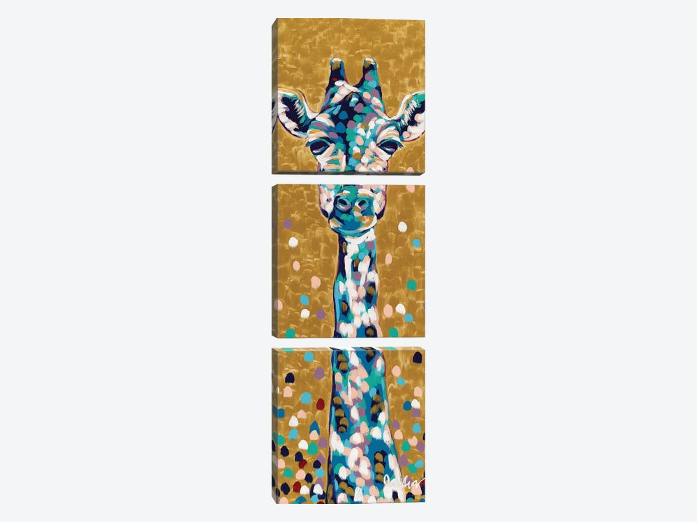 Golden Girl Giraffe by Jodi Augustine 3-piece Canvas Art