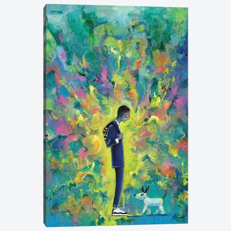 Young Man With Robot Dog Canvas Print #JAV25} by Jack Avetisyan Canvas Art