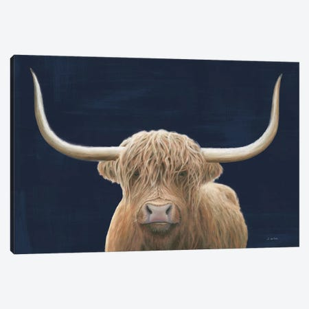 Highland Cow Navy Canvas Print #JAW112} by James Wiens Canvas Art Print