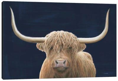 Highland Cow Navy Canvas Art Print