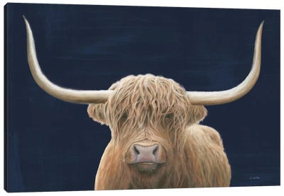Highland Cow Navy Canvas Art Print