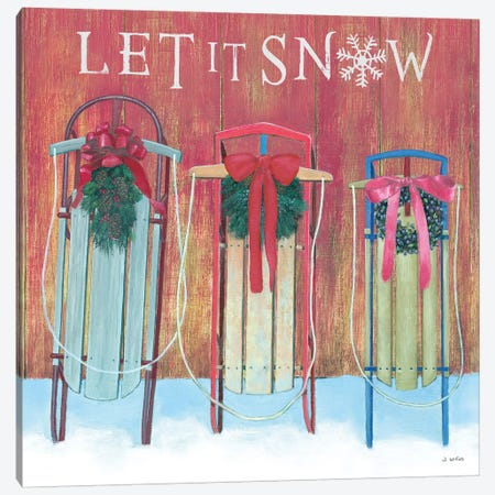 Let It Snow - Family Sleds Canvas Print #JAW11} by James Wiens Canvas Print