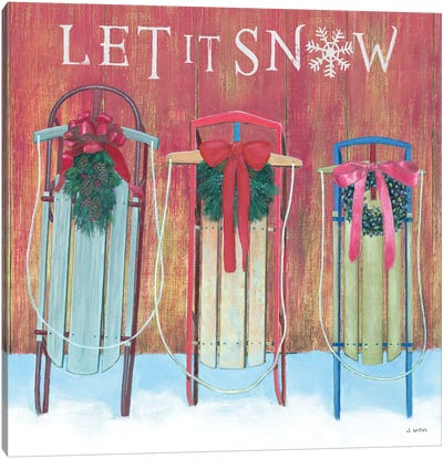 Let It Snow - Family Sleds Canvas Art Print