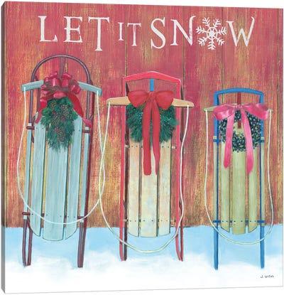 Let It Snow - Family Sleds Canvas Art Print
