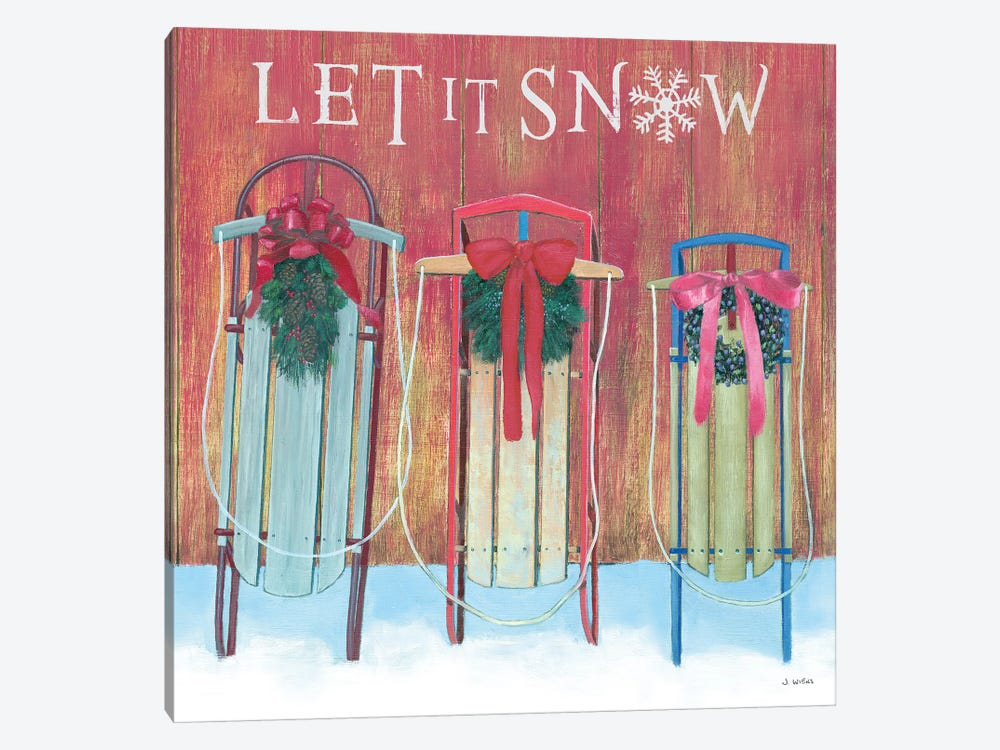 Let It Snow - Family Sleds by James Wiens 1-piece Canvas Print