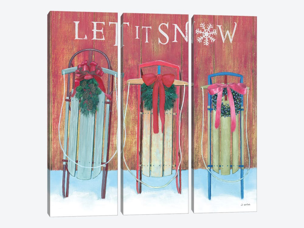 Let It Snow - Family Sleds by James Wiens 3-piece Art Print