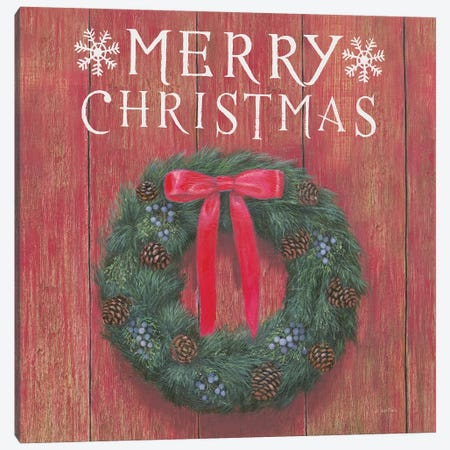 Merry Christmas Wreath Canvas Print #JAW12} by James Wiens Canvas Print