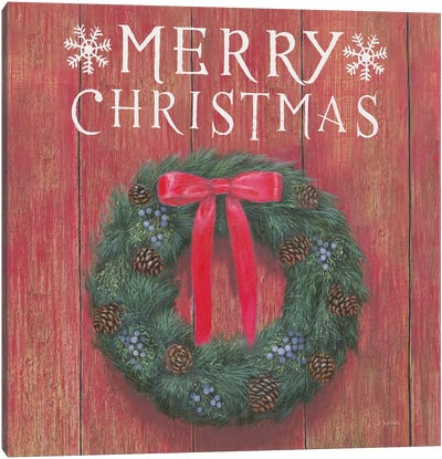 Merry Christmas Wreath Canvas Art Print