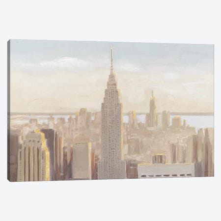 Manhattan Dawn Gold and Neutral Canvas Print #JAW133} by James Wiens Art Print