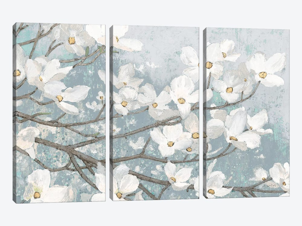 Dogwood Blossoms II In Blue Gray Crop by James Wiens 3-piece Art Print