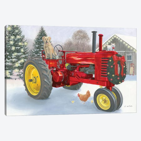Christmas in the Heartland III Red Tractor Canvas Print #JAW67} by James Wiens Art Print