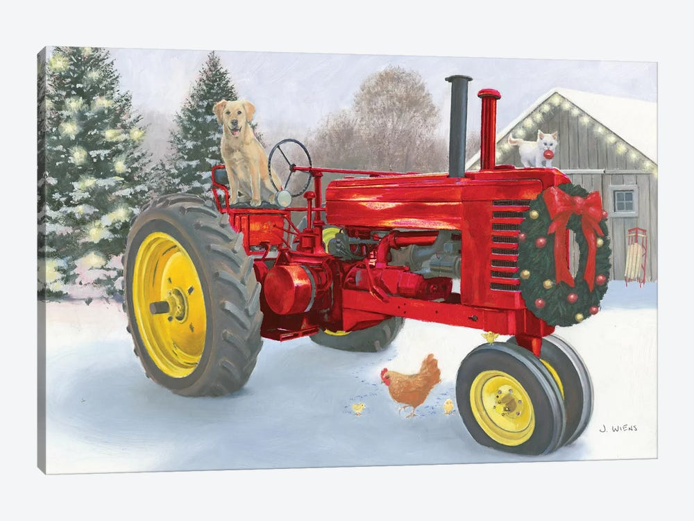 Christmas In The Heartland.Christmas In The Heartland Iii Red Tractor Canva James Wiens Icanvas