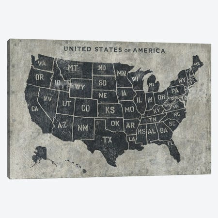 Grunge USA Map Canvas Print #JAW80} by James Wiens Canvas Art