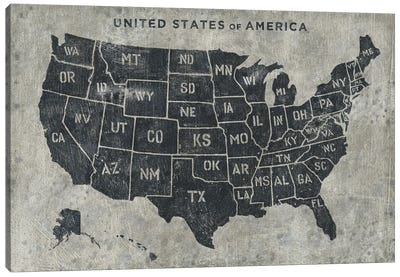 Grunge USA Map Canvas Art Print