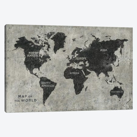 Grunge World Map Canvas Print #JAW81} by James Wiens Canvas Art