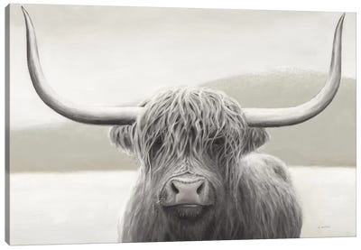 Highland Cow Neutral Canvas Art Print