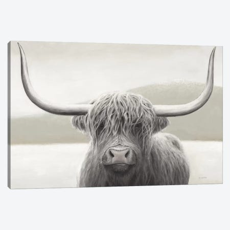 Highland Cow Neutral Canvas Print #JAW82} by James Wiens Canvas Artwork