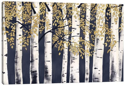 Fresh Forest Indigo Gold Canvas Art Print