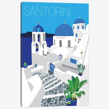 Santorini With Typography Canvas Print #JBC23} by Jen Bucheli Canvas Art
