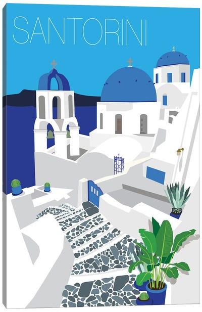 Santorini With Typography Canvas Art Print