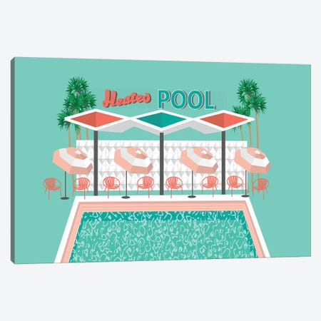 Vintage Pool Canvas Print #JBC25} by Jen Bucheli Canvas Print