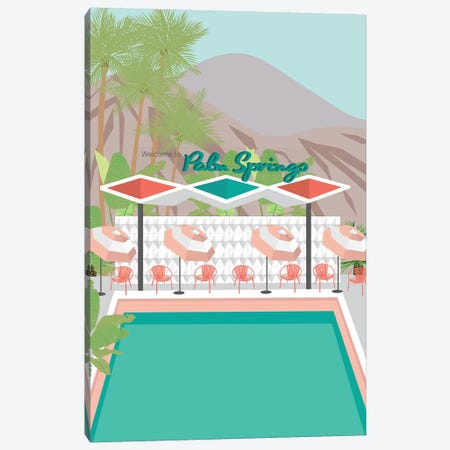 Welcome to Palm Springs Canvas Print #JBC26} by Jen Bucheli Art Print
