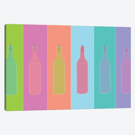 Colorful Mod Wine Bottles Canvas Print #JBC28} by Jen Bucheli Canvas Art