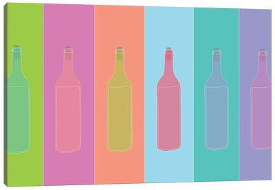 Colorful Mod Wine Bottles Canvas Art Print