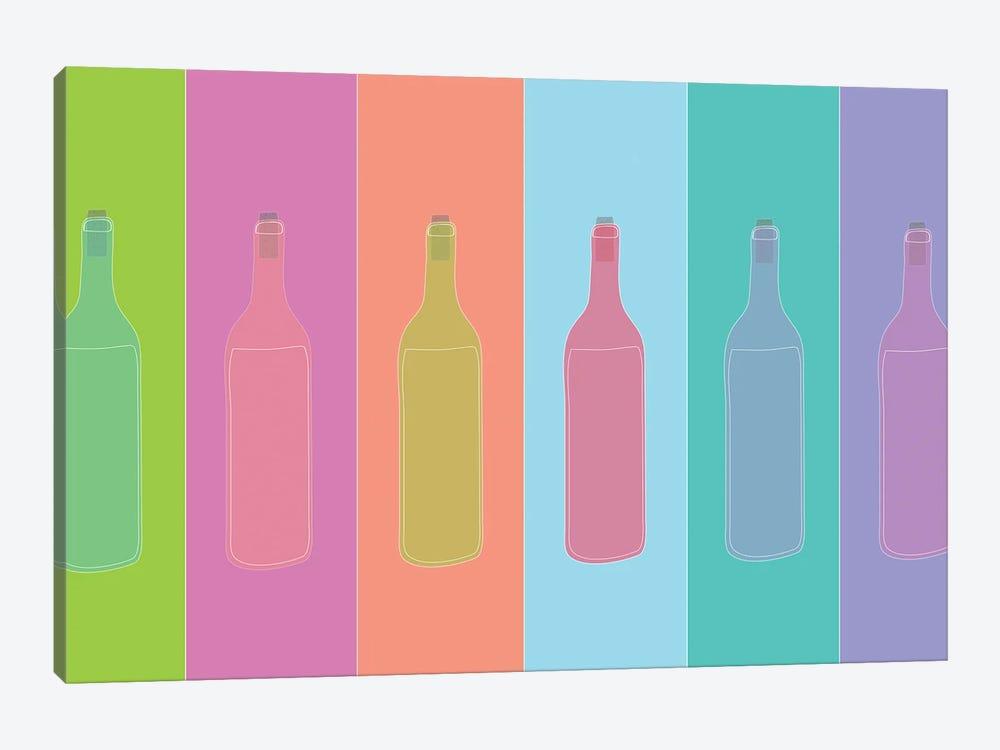 Colorful Mod Wine Bottles by Jen Bucheli 1-piece Art Print