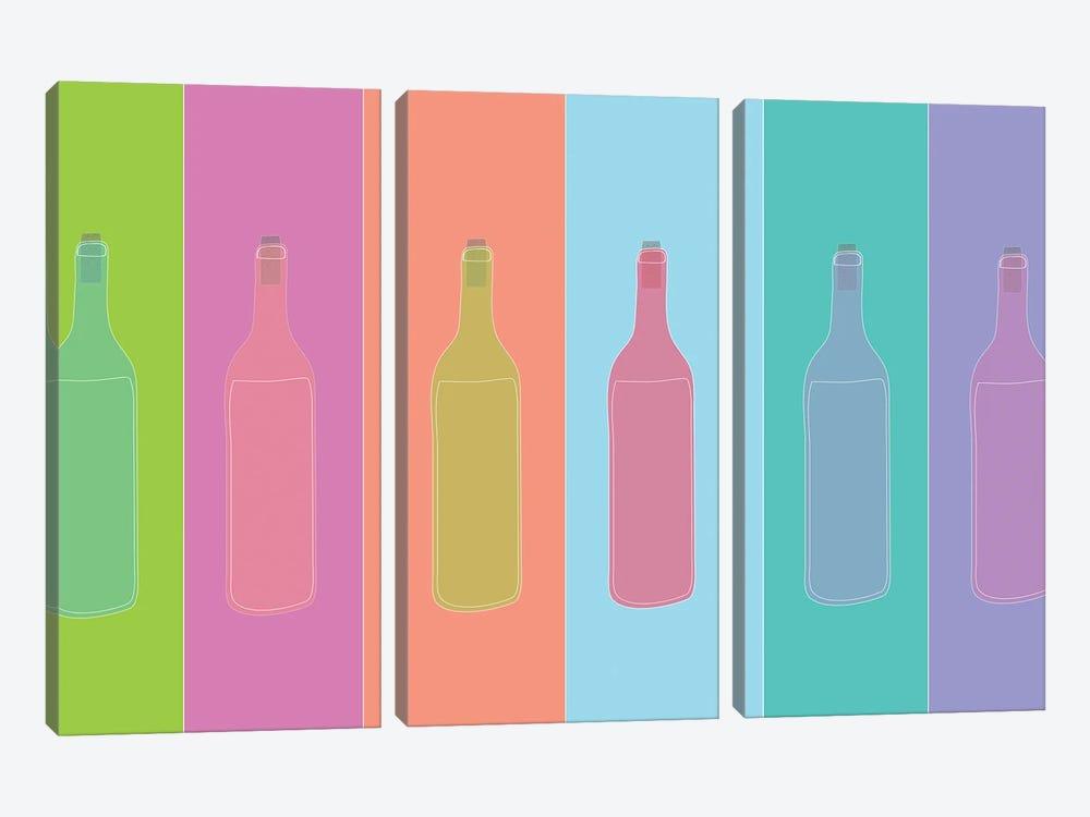 Colorful Mod Wine Bottles by Jen Bucheli 3-piece Canvas Art Print
