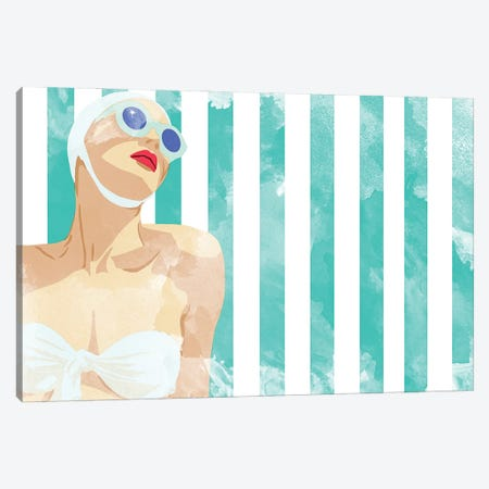 Bathing Beauty On Teal Towel Canvas Print #JBC29} by Jen Bucheli Canvas Artwork