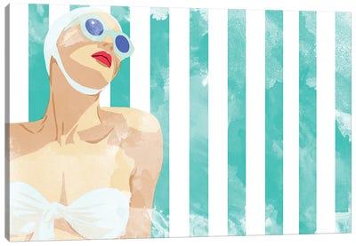 Bathing Beauty On Teal Towel Canvas Art Print