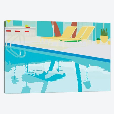 Poolside Canvas Print #JBC34} by Jen Bucheli Canvas Artwork