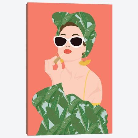 Tropical Lady Canvas Print #JBC37} by Jen Bucheli Canvas Artwork