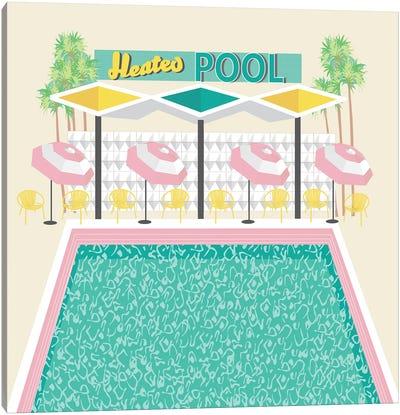 Vintage Pool in Pink Canvas Art Print