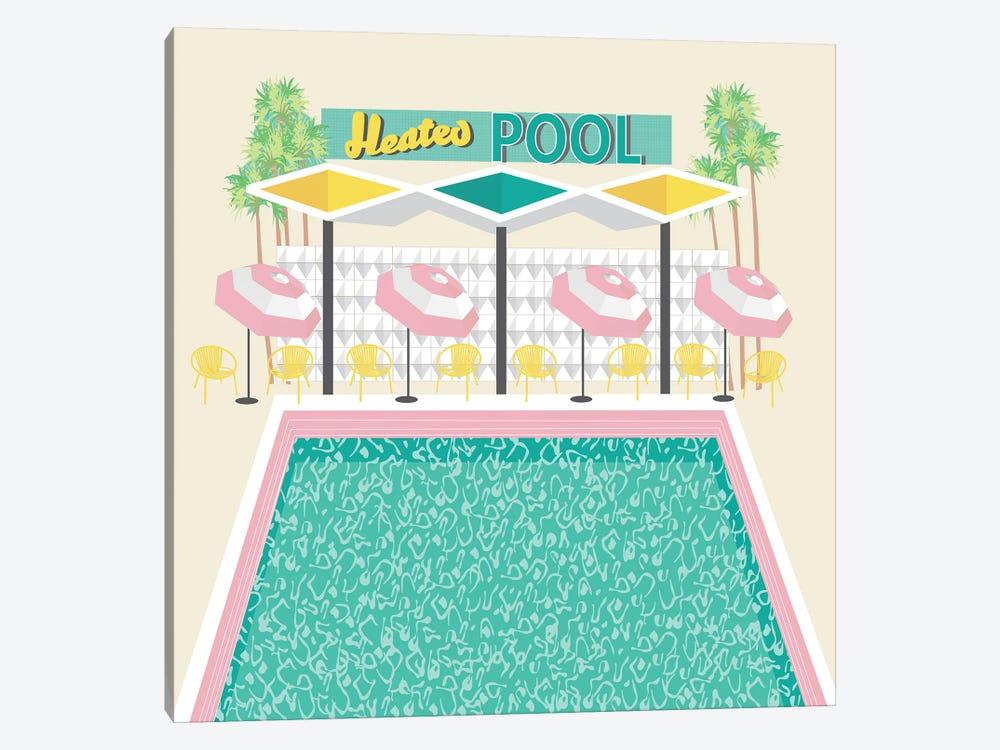 Vintage Pool in Pink by Jen Bucheli 1-piece Canvas Wall Art