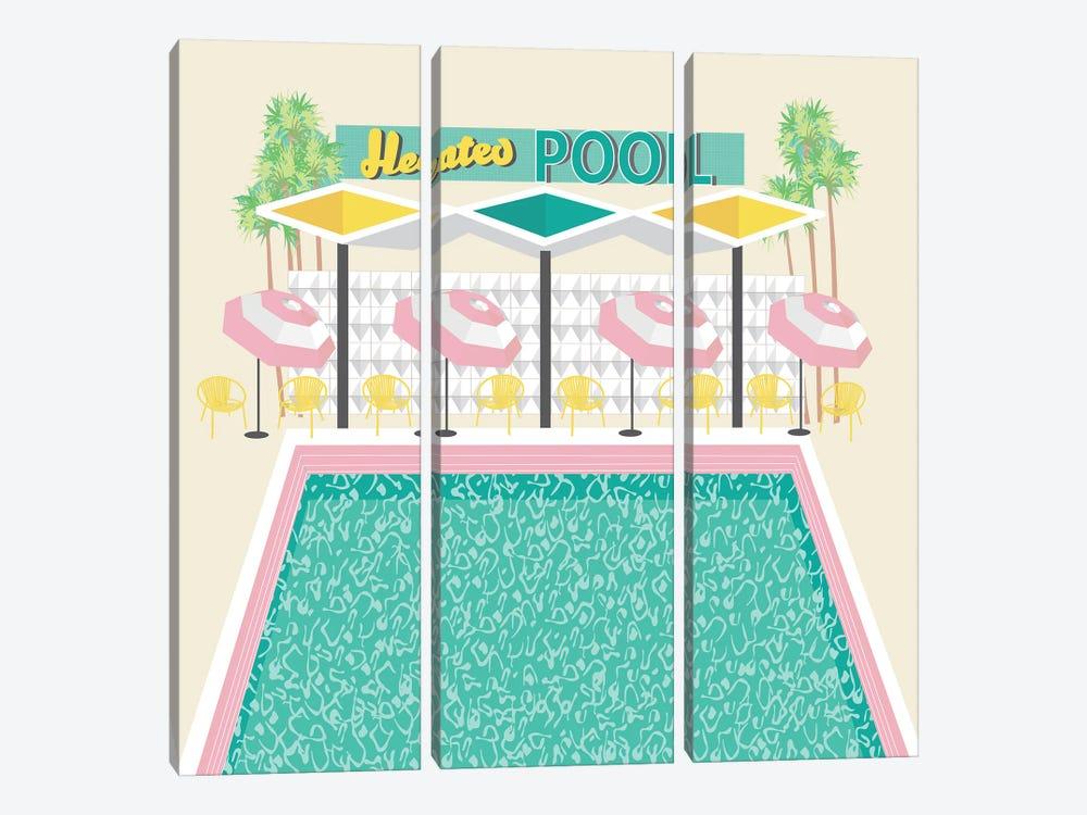 Vintage Pool in Pink by Jen Bucheli 3-piece Canvas Wall Art
