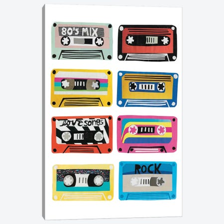 Retro Mix Tapes Canvas Print #JBC4} by Jen Bucheli Canvas Print